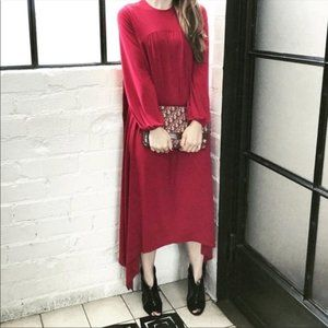 Boho Burgundy Bark Bite Hemline NEW Maxi Dress
